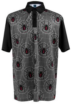 aefa8936 ReadyGOLF Mens Golf Polo Shirt - Black Widow Grey Crazy Golf, Golf Polo  Shirts,