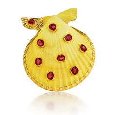 Verdura Shell Brooch Noble Scallop shell, ruby and gold.