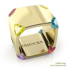 Trilliant ring in 18ct Yellow gold and coloured sapphires from www.Armoura.com
