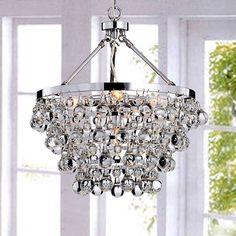 Glass Chandelier Rain Drop Pendant Round Lighting Fixture Crystal Hanging Lamp