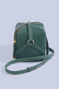 Manufacture Pascal bag, crossbody leather handbag. Petit Kodara in Sage with ice blue ultra suede lining, made from 100% American Vegetable tanned leather and handmade in New York.