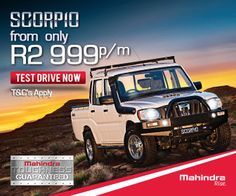 Buy a Mahindra Scorpio Double Cab Bakkie in South Africa from Only per month. Terms and conditions apply. Driving Test, Scorpio, South Africa, 4x4, Porsche, How To Apply, Indian, Cars, Scorpion