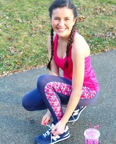 Is this the cutest workout look you ever did see? #wethinkso #notbiased Abby of @belleoftheball45 personifies #ExerciseinColor in braids bows & lobsters! // Wearing our #devonmaryn lobster leggings (with TWO side pockets) & 'Top Knot' bow back top in pink
