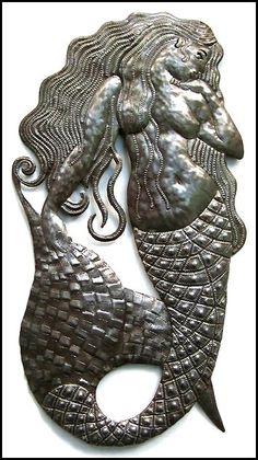 """Large 34"""" Mermaid Metal Wall Decor - Handcrafted in Haiti from Recycled Steel Oil Drums - H-511-34"""
