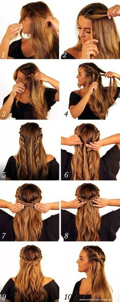 Trenzas para cabello suelto - Love Tutorial and Ideas Crown Hairstyles, Trendy Hairstyles, Braided Hairstyles, Wedding Hairstyles, School Hairstyles, Super Hair, Prom Hair, Hair Wedding, Wedding Makeup