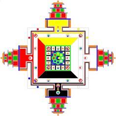 The Kalachakra Mandala is like a huge palace, with 5 distinct floor levels. Tibetan Buddhism, Buddhist Art, Mandala Meaning, The Golden Mean, Shri Yantra, Sand Painting, The Monks, Colorful Drawings, Mandala Art