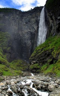 Hike to Vettisfossen waterfall in Central Norway.