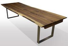 Tisch mit Baumkante Birke Breite 90cm Länge wählbar