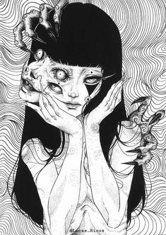 """""""Art by Lucas Rios"""" Japanese Horror, Japanese Art, Aesthetic Art, Aesthetic Anime, Manga Gore, Arte Indie, Gothic Anime, Gothic Art, Dark Art Drawings"""