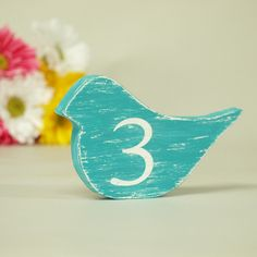 Custom Wood Wedding Table Number Sign Bird by Signs of Vintage, via Flickr