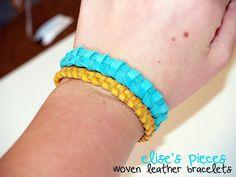 elise's pieces: woven leather bracelet tutorial