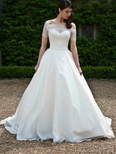 Ballgown wedding dress with lace sleeves