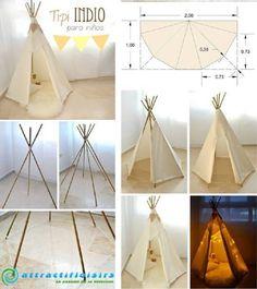 Fabriquez un tipi pour enfant noté 3.26 - 31 votes Il vous suffira d'un simple drap, un peu de corde et 6 tiges de bois d'environ 1 mètre 50.