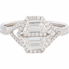 Monique Péan Minéraux Antique Diamond & Platinum Geometric Ring at Barneys.com