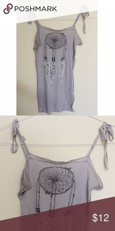 Dreamcatcher Tank Light tank with adjustable straps/ ties on each side. Ribbed. Dreamcatcher design. Urban Outfitters Tops Tank Tops