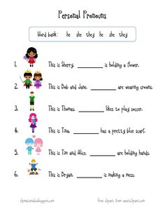Free speech therapy worksheets and activities (articulation, receptive/expressive language) for speech-language pathologists, teachers, parents. Pronoun Activities, Pronoun Worksheets, English Grammar Worksheets, 1st Grade Worksheets, Speech Therapy Activities, English Pronouns, Therapy Worksheets, Language Activities, Printable Worksheets