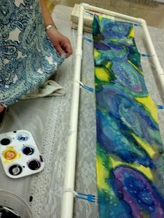 Painting Classes, Student Work, Fabric Painting, Tie Dye Skirt, Paintings, Silk, Painting On Fabric, Painting, Draw