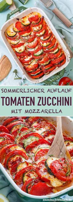 Tomaten Zucchini Auflauf mit Mozzarella - emmikochteinfach Mozzarella, Tomato Zucchini Bake, Beef Recipe Instant Pot, Crockpot Recipes, Healthy Recipes, Beef Recipes For Dinner, Nutrition, Easy Cooking, Tandoori Chicken