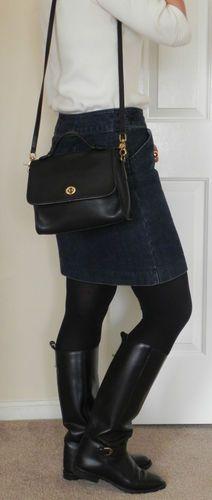 7158dad41a52 Vintage Black Leather Coach Court Bag Style 9870