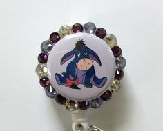 Eeyore Retractable Badge Holder with Eeyore Charm and Puffy Heart by Lindasbadgeboutique on Etsy