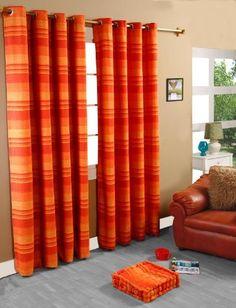 100% Cotton Morocco Striped Terracotta Curtain Pair