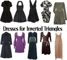 all of these dresses do wonders for us. they all have V cuts that redirect the eye down, enhance our waists and give the illusion of  wider hips. perfect for inverted triangle shaped girls.