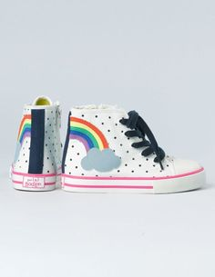 Mini Boden #rainbow Appliqué High Tops. The perfect rainbow shoe to go with a fun and colourful outfit.