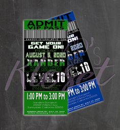 Video Game Party Invitation/ Ticket Invitation/ VIP Pass/ Custom Invitation | Xbox One | Playstation | PC