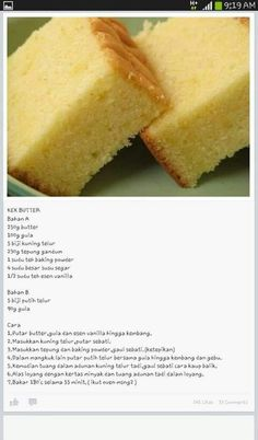 me ~ Butter Cake Baking Recipes, Cake Recipes, Snack Recipes, Pastry Recipes, Sweets Recipes, Resepi Butter Cake, Bolu Cake, Butter Pound Cake, Cake Oven