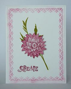 Creative Elements Clean and Simple-Stamp Set:  Creative Elements Ink: Rich Razzleberry, Garden Green Cardstock: Whisper White Tools and Accessories:  Big Shot with Framed Tulips embossing folder, paper snips, Stampin' Dimensionals, sponge dauber