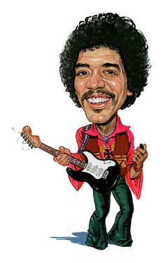 Painting - Jimi Hendrix by Art , Funny Caricatures, Celebrity Caricatures, Celebrity Drawings, Rock Posters, Concert Posters, Cartoon Faces, Funny Faces, Jimi Hendrix Poster, Monterey Pop Festival