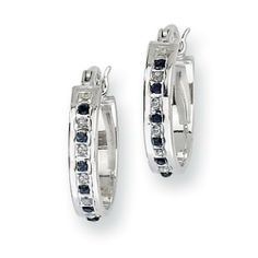 Sterling Silver & Platinum-plated Dia. & Sapphire Oval Hinged Hoop Earrings Jewelry Adviser Hoop Earrings. $49.08
