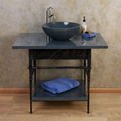 Console Vanity for Vessel Sink - Blue Gray Granite Top - Sofa Table - No Faucet Holes