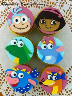 Dora the Explorer cupcake toppers Dora Cupcakes, Dora Cake, Fondant Cupcakes, Cute Cupcakes, Cupcake Cakes, Dora Birthday Cake, Baby Girl Birthday Theme, 5th Birthday Party Ideas, 3rd Birthday