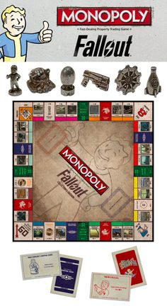 Play MONOPOLY: Fallout Collector's Edition and rebuild civilization as you buy, sell, and trade your way through the Fallout Wasteland. Monopoly Board, Monopoly Game, Vault Dweller, Vault Tec, Fallout New Vegas, Tabletop Games, The Collector, Civilization, Video Games