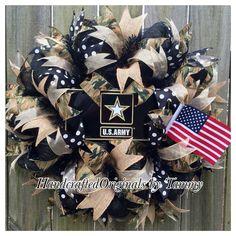 US army wreath, military wreath, burlap, camouflage, american flag, https://www.facebook.com/handcraftedoriginals