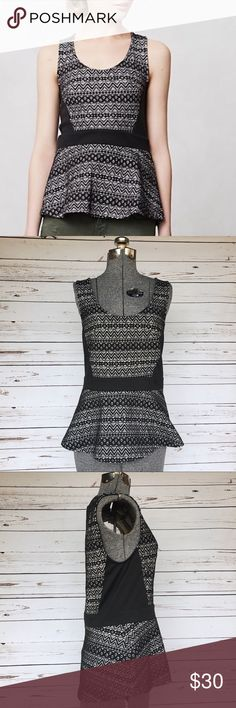 """Deletta black lace peplum top Black lace peplum top by Deletta for Anthropologie. Black side panels, zipper back. Laying flat measures approx. 24"""" long, 16"""" bust. Anthropologie Tops Blouses"""