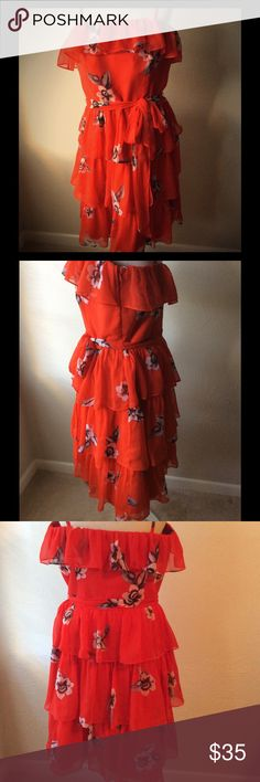 White House Black Market Red Floral Dress  Size 14 White House Black Market Red Floral Dress  Size 14. In my opinion it fits more like a SZ 12 good used condition 100% polyester White House Black Market Dresses