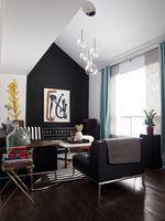 Modern living room in black and white.