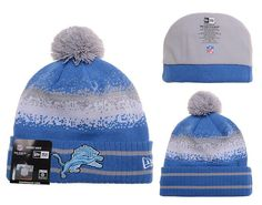 Mens   Womens Detroit Lions New Era 2016 Winter Warm NFL Team Colors Spec  Blend Knit Beanie Hat With Pom - Blue   Grey 759f559766c6