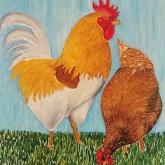 """Tierbilder in Oel wirken fantastisch, weil die Hühner sich so prächtig präsentieren. Wenn sie gar in der Natur gemalt werden können ist das das Tüpferchen auf dem """"i"""". #oelfarbe #oelmalerei #geflügel #hahn #henne #scharren #wiese #himmel #schutz #fressen #hühnerernährung #oelbild Hahn, Rooster, Animals, Scrabble, Pet Pictures, Heavens, Nature, Animales, Animaux"""