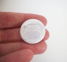 Typewriter button badge. illustrated linear design, typogaphy gift.pin badges, indie button,geek badges. on Etsy, $0.85