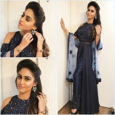 Last night in this stunning sequinned cold shoulder midnight blue outfit by and accessories by . Indian Wedding Gowns, Indian Gowns, Indian Wear, Wedding Dresses, Indian Designer Outfits, Indian Outfits, Designer Dresses, Indian Clothes, Girl Fashion