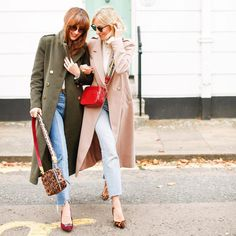 It's a little chilli 🌶🙊🌶🙉🌶🙈🌶 so head over to our blog for our Winter Coat Guide, including these…   Camel coat, olive coat, denim, military style coats, heels, purses, cheetah print, fashion, blonde and brunette, Belle & Bunty, red bag, sunglasses, London fashion, fashion bloggers