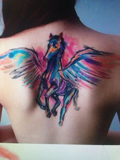 Love the watercolor wings would like a heart in between instead of the horse