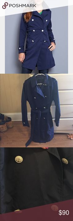Nautica navy blue raincoat w/ anchor buttons worn once. Has a belt, anchor buttons, buttons of cuffs and shoulders. So cute and classy Nautica Jackets & Coats Trench Coats