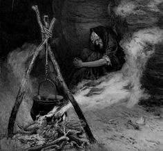 """welkinlions: """" Edward Frederick Brewtnall British, 1846 - 1902 'A Visit to the Witch' """""""
