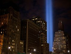 On the eve of the tenth anniversary of September 11, one of the twin beams of the 'Tribute in Light' illuminates the sky where the World Trade Center Buildings once stood. New York City and the nation are preparing for the tenth anniversary of the 9/11 terrorist attacks on lower Manhattan which resulted in the deaths of 2,753 people at the WTC.