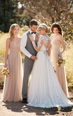 Illusion lace wedding dress with tulle skirt by Essense of Australia D2038 / http://www.deerpearlflowers.com/sorella-vita-bridesmaid-dresses/3/