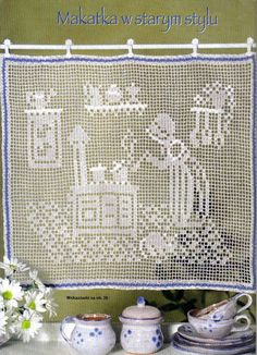 Free filet crochet pattern curtains with coffee pot and cups Filet Crochet, Crochet Motifs, Crochet Round, Crochet Chart, Crochet Squares, Crochet Home, Thread Crochet, Crochet Doilies, Crochet Stitches